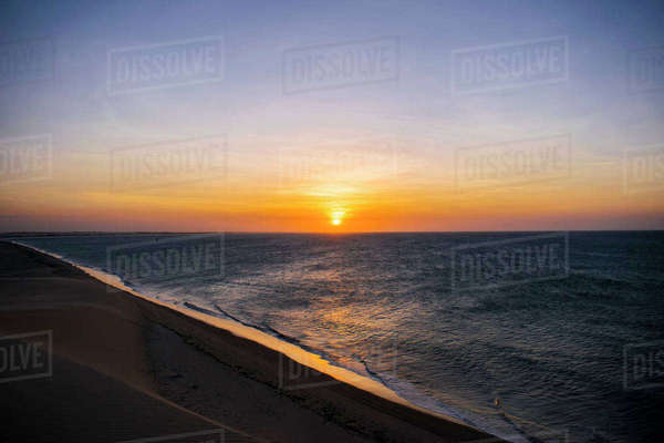 Scenic view of sea during sunset Royalty-free stock photo