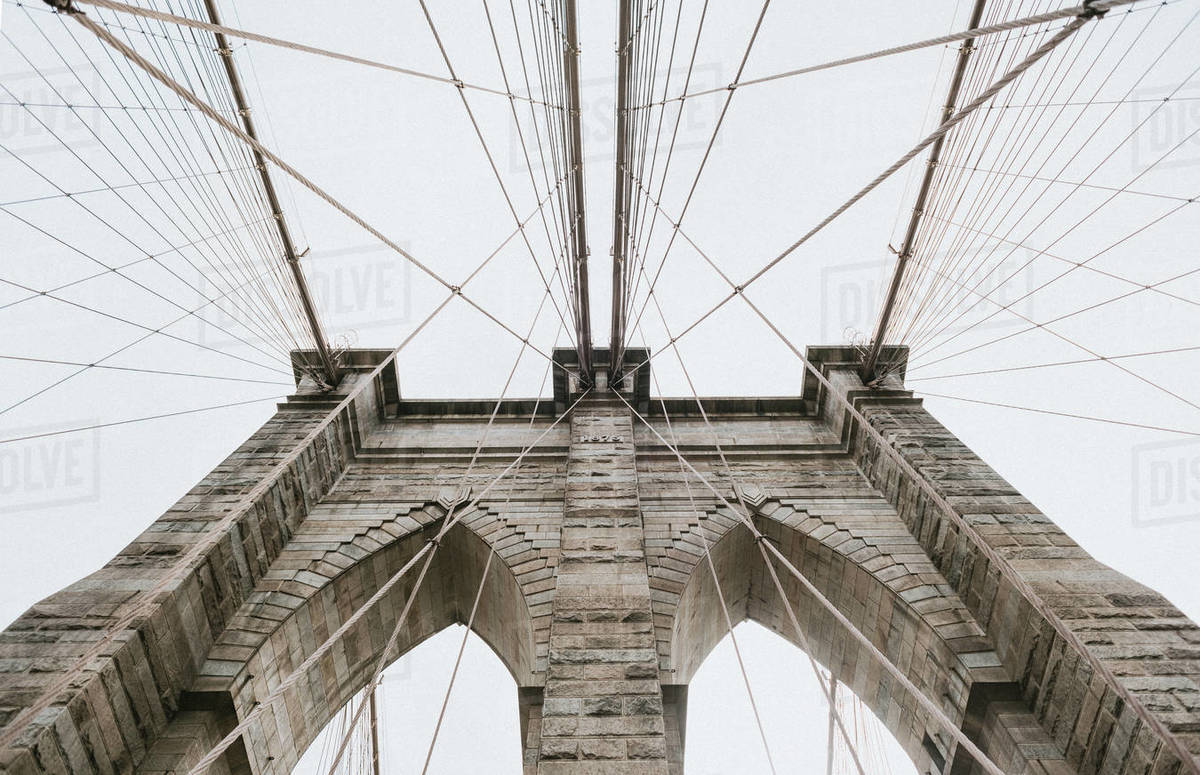 Low angle shot of Brooklyn Bridge in New York City, United States. Royalty-free stock photo