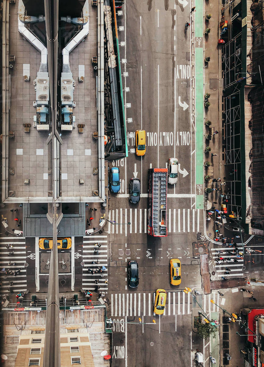 Overhead view of vehicles on a New York City street intersection Royalty-free stock photo