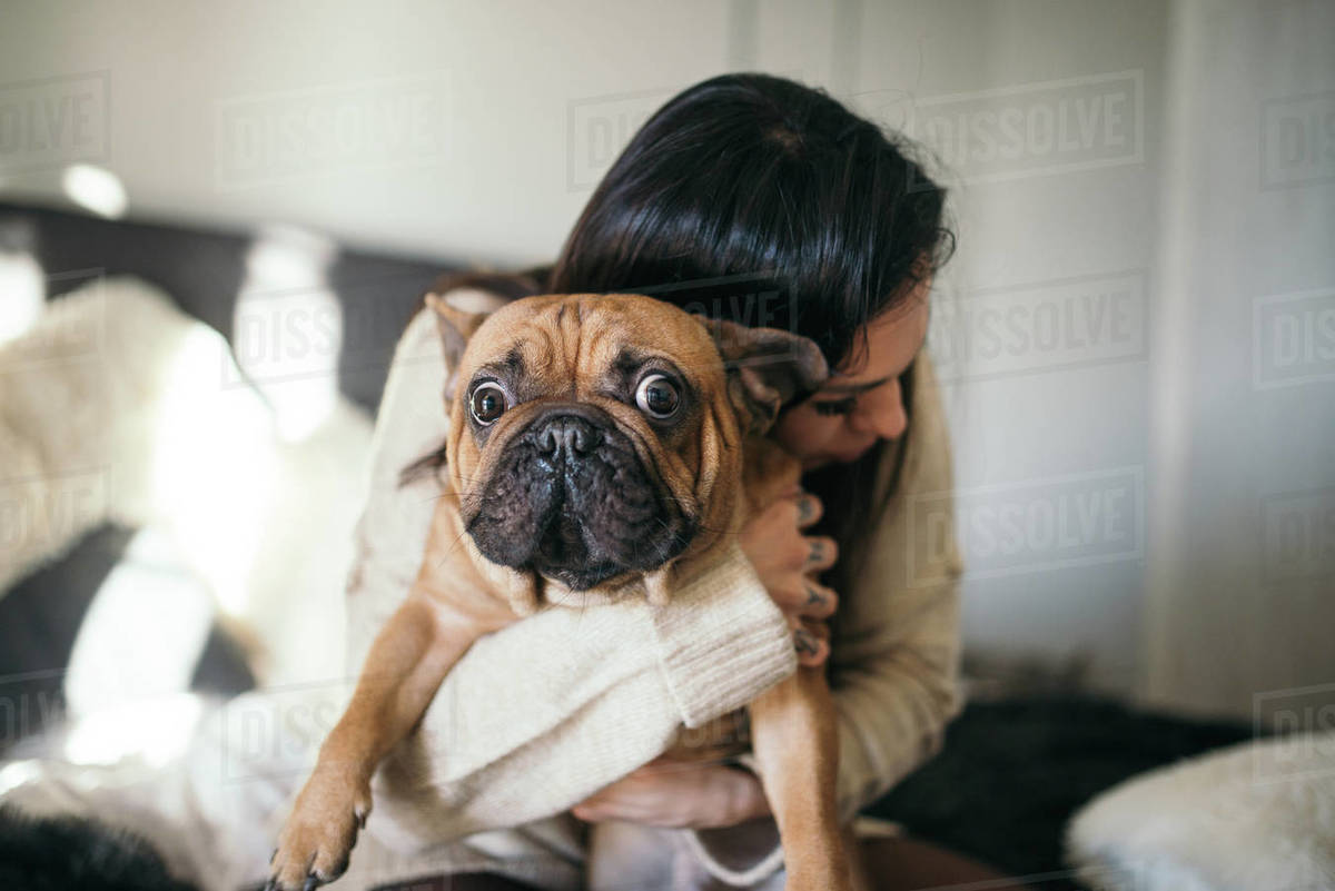 A tattooed woman hugging her cute puppy. Happy moment between pe Royalty-free stock photo
