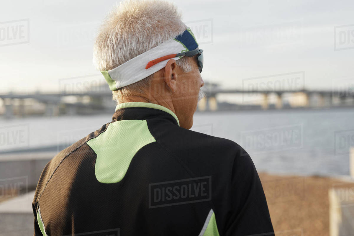 Mature Man In Sportswear Outdoors Back View Royalty-free stock photo