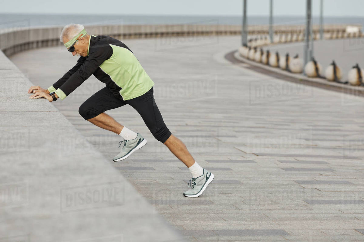 Fit Senior Man Working Out At Seafront Royalty-free stock photo