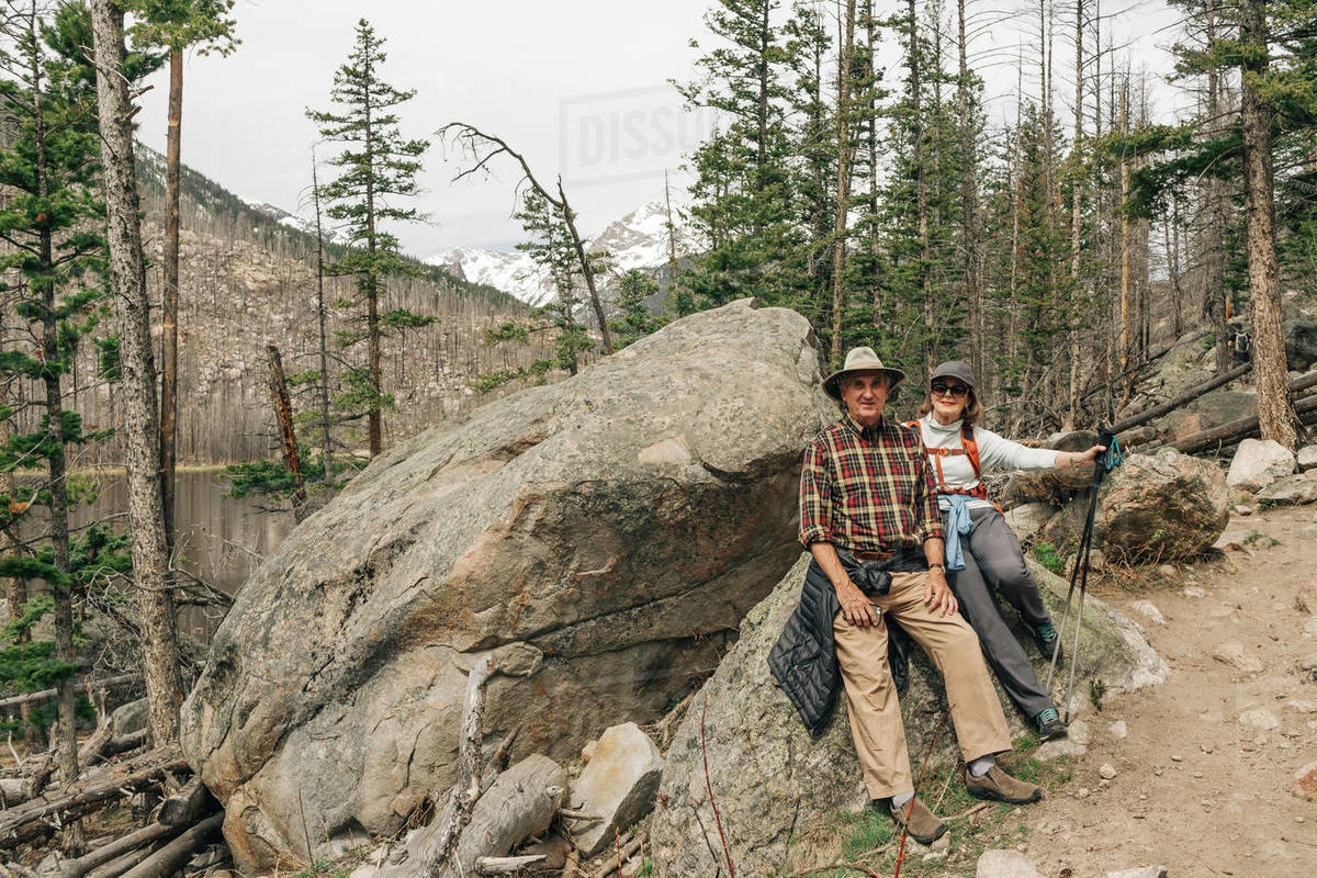 An older couple enjoy a hike in Rocky Mountain National Park, Colorado Royalty-free stock photo