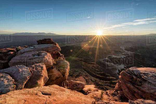 Rock formations at Canyonlands National Park against bright sky Royalty-free stock photo