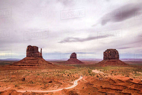 Rock formations at Monument Valley against cloudy sky Royalty-free stock photo