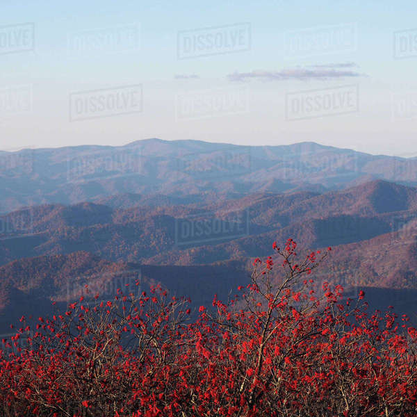 Scenic view of mountains against sky at Blue Ridge Parkway Royalty-free stock photo