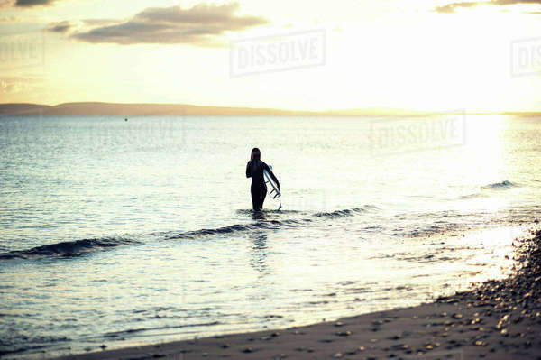 Rear view of woman carrying surfboard while walking in sea against sky during sunset Royalty-free stock photo