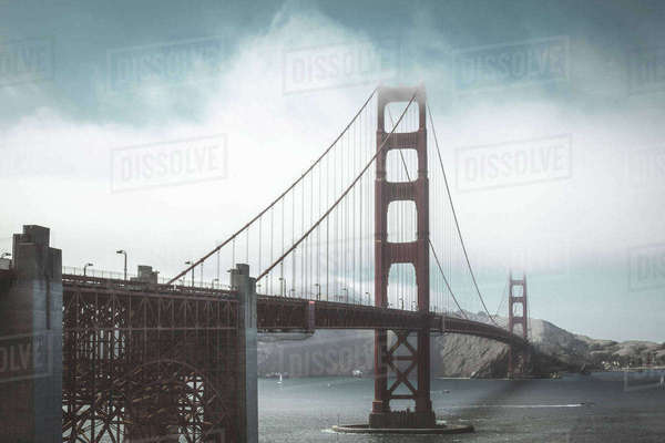 View of Golden Gate Bridge over sea against sky during foggy weather Royalty-free stock photo