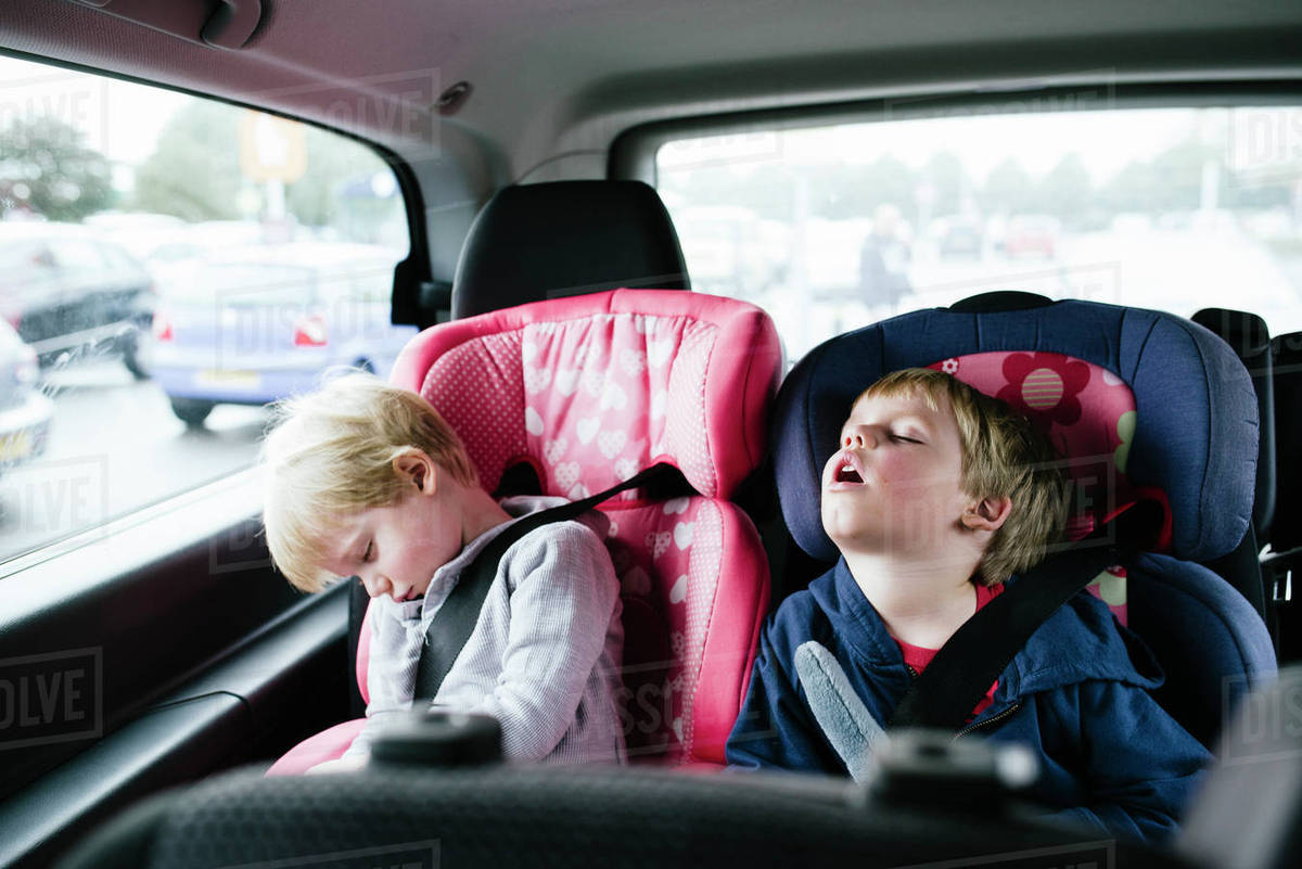 Sleeping In Car >> Tired Brothers Sleeping In Car Stock Photo