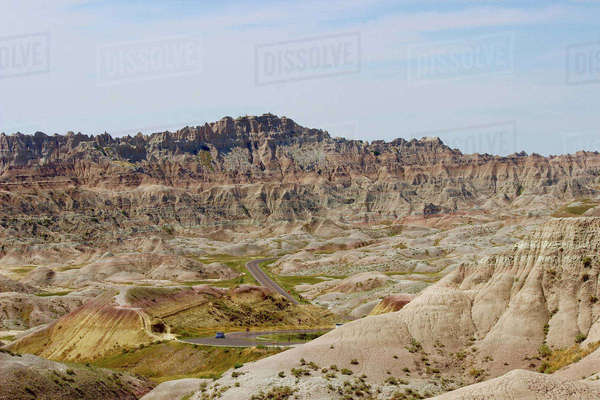 Scenic view of Badlands National Park against sky Royalty-free stock photo