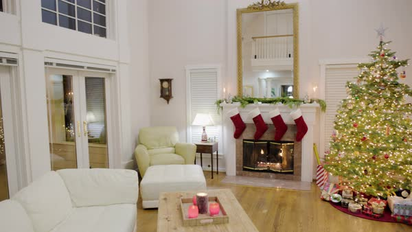 Panning shot of a living room at Christmas Royalty-free stock video