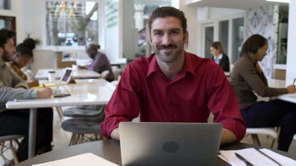 Mid adult man looking at camera while working in a modern office Royalty-free stock video