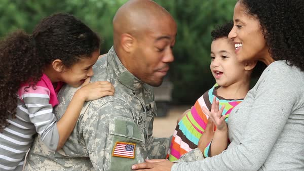 Family welcoming home military father/husband Royalty-free stock video