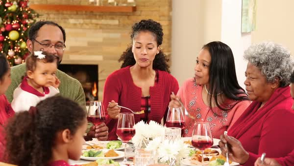Family gathering for a Christmas meal Royalty-free stock video