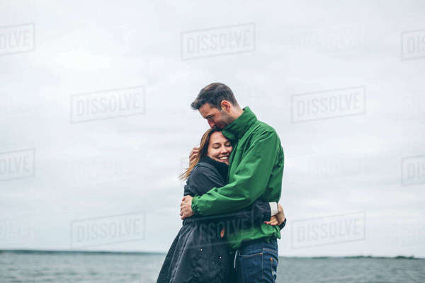 Sweden, Blekinge, Karlskrona, Salto, Couple hugging Royalty-free stock photo