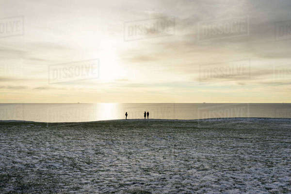 Sweden, Skane, Ystad, Ale Stenar, Friends looking at sea Royalty-free stock photo