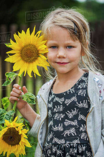 Sweden, Portrait of girl (4-5) with sunflower Royalty-free stock photo