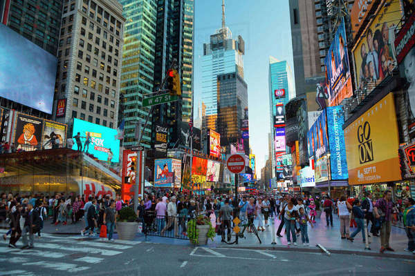 USA, New York State, New York City, Manhattan, People in Times Square Royalty-free stock photo