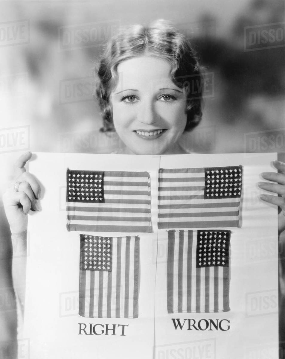 Young Woman Holding A Diagram Of How To Hang An American Flag
