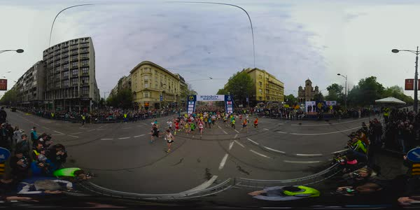 360 degree view of a running marathon in Belgrade, Serbia Royalty-free stock video