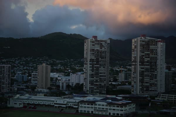 Timelapse of clouds moving over Honolulu Royalty-free stock video