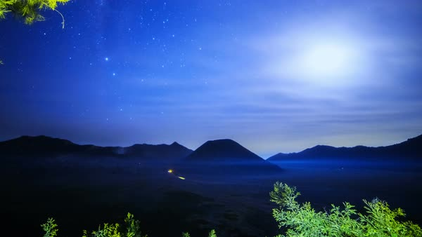 Timelapse. The Milky Way above the volcano Bromo. East Java, Indonesia Royalty-free stock video