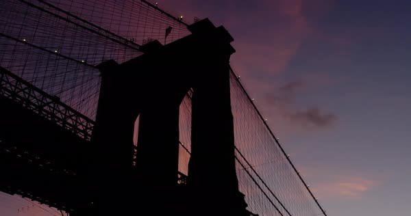 An establishing shot of New York City's Brooklyn Bridge Royalty-free stock video