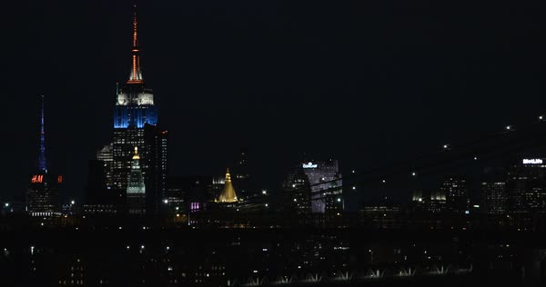 An establishing shot of New York City's Empire state Building at night Royalty-free stock video