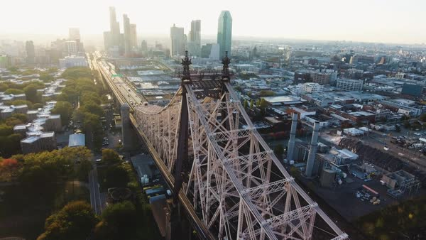 An aerial shot of New York City's Queensborough Bridge at sunrise Royalty-free stock video
