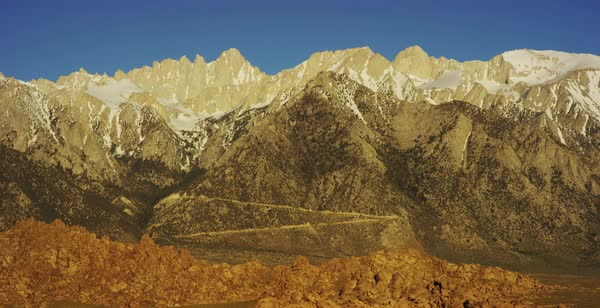 Panning shot of Sierra Nevada mountains seen from Alabama Hills Royalty-free stock video