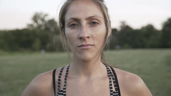 Portrait of a woman in a park after working out Royalty-free stock video