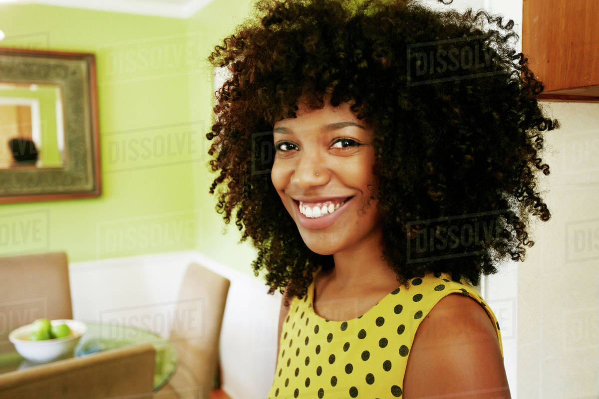 Close up of smiling mixed race woman Royalty-free stock photo