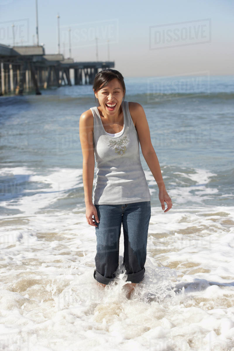 Asian Girl At Beach