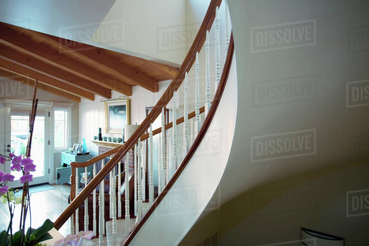 Curved Staircase In Home, Laguna Beach, California, USA
