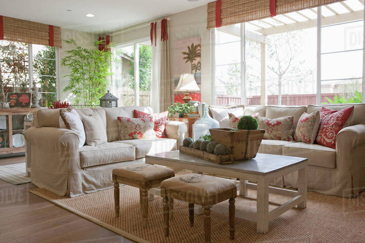 Interior Of Middle Class Living Room Stock Photo Dissolve