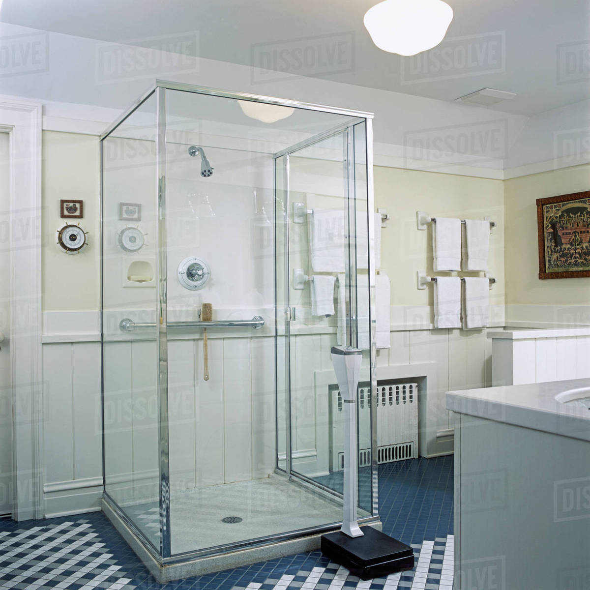 View towards glass box shower stall, teal blue and white tile floor ...