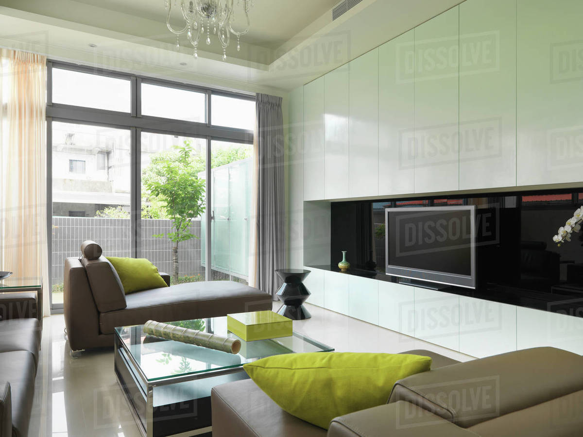 Modern Living Room With Lime Green Accents