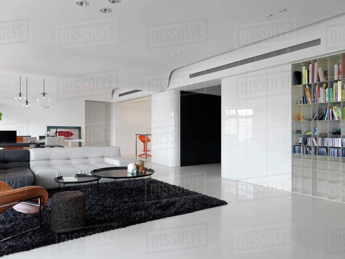 Large modern living room with black shag rug D145_201_828