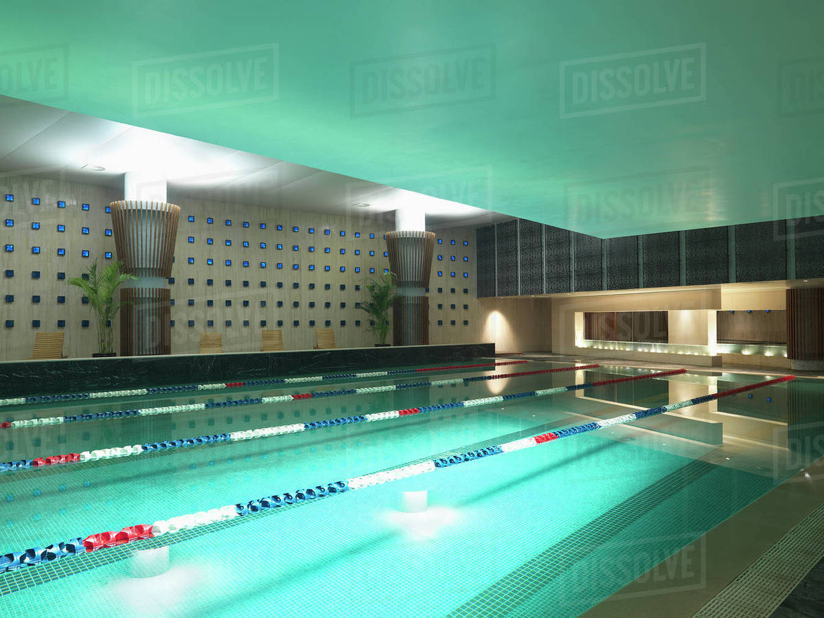Large tile indoor swimming pool - Stock Photo - Dissolve