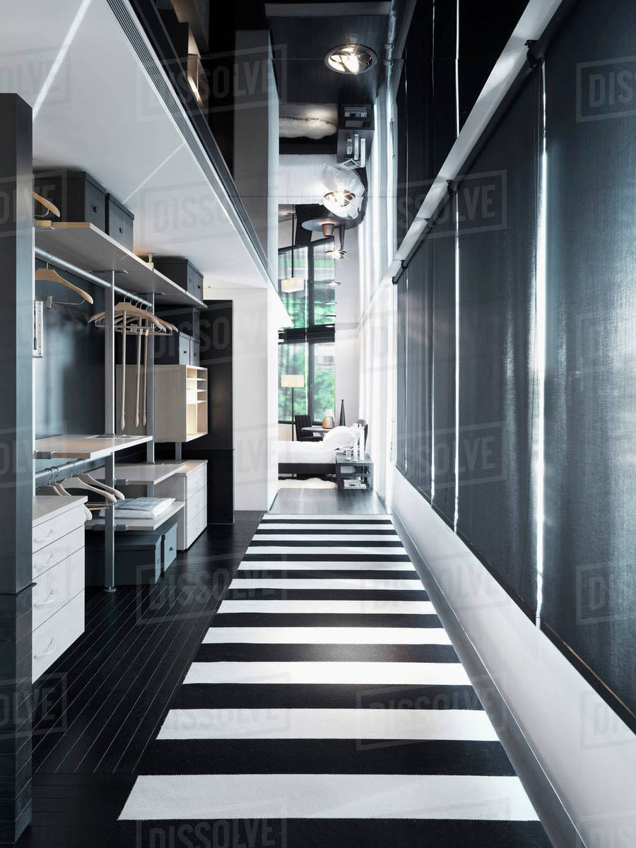 Black And White Hallway Modern Home