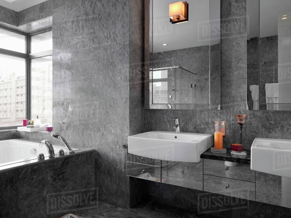 Detail Modern Gray Marble Bathroom