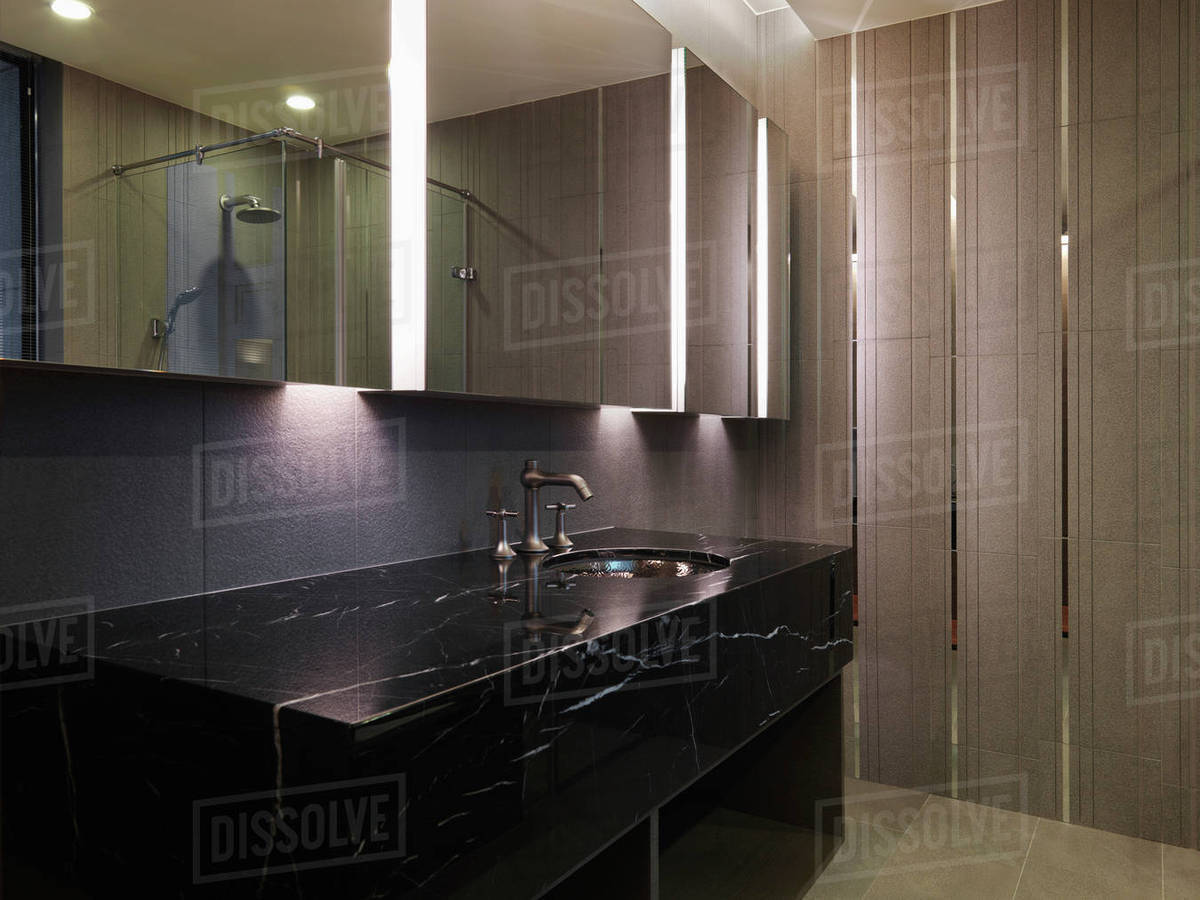 Black Marble Bathroom Counter And Sink Stock Photo Dissolve