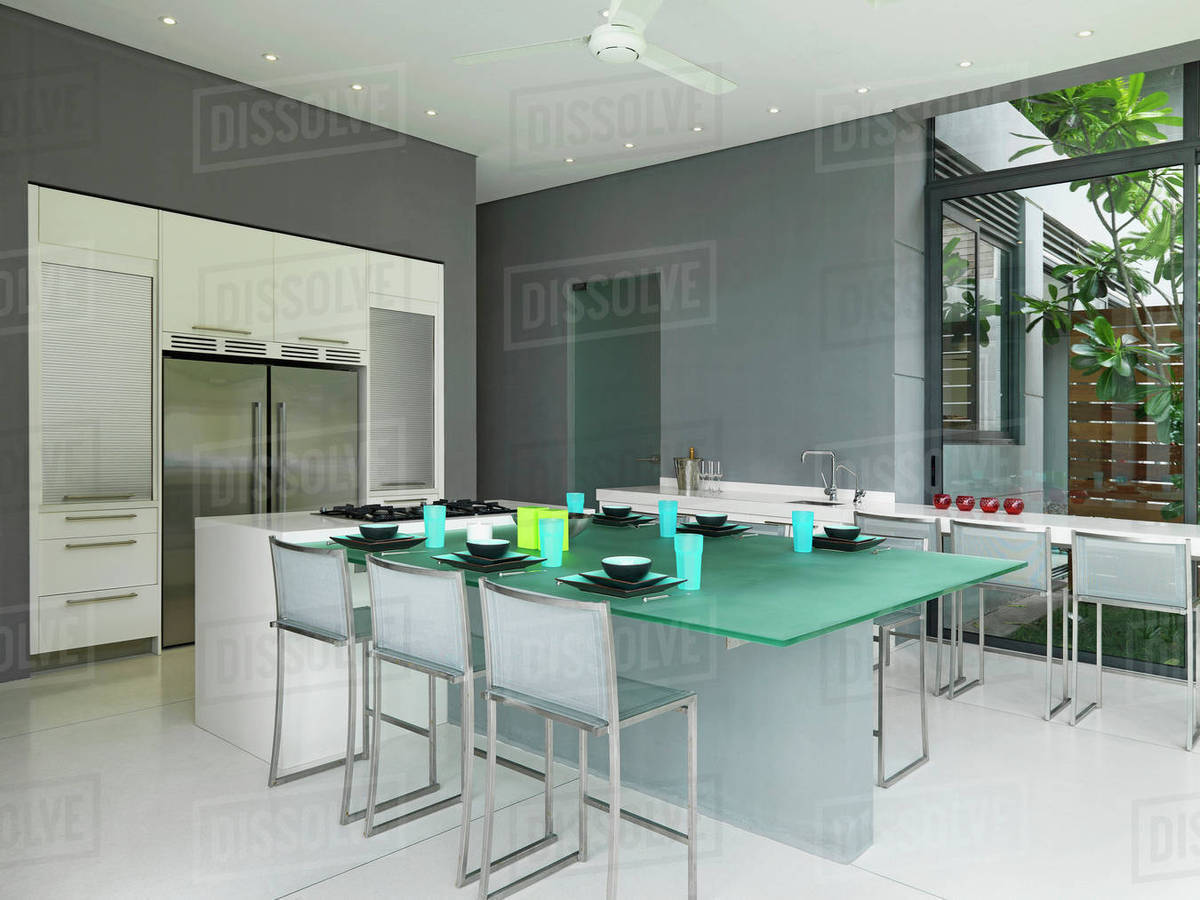 Frosted glass dining table in modern dining room D145_202_900