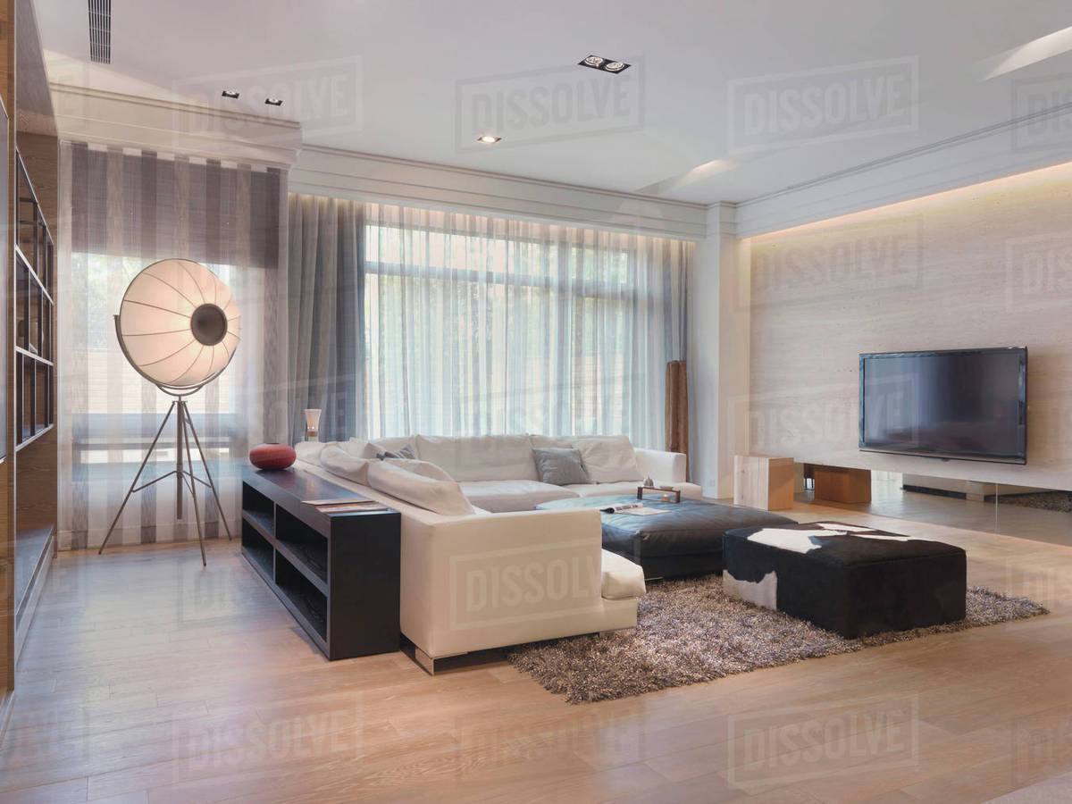 Modern living room with shag carpet stock photo