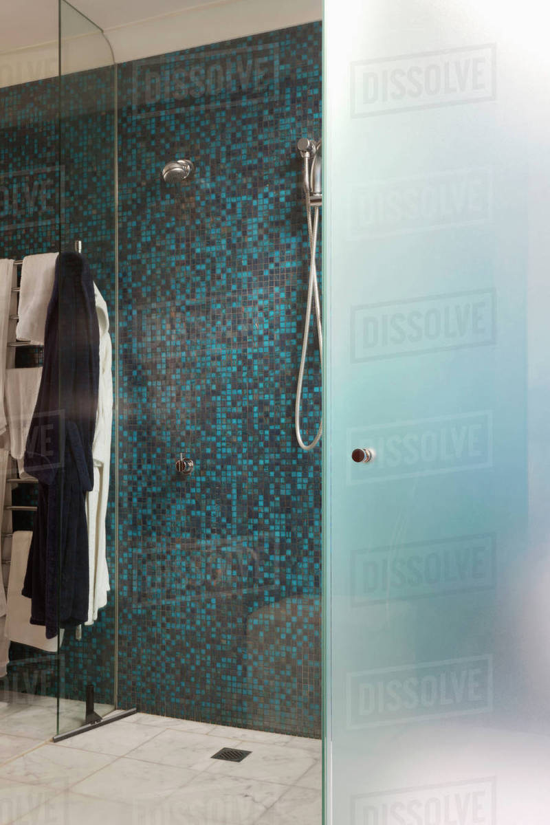 Mosaic tile shower stock photo
