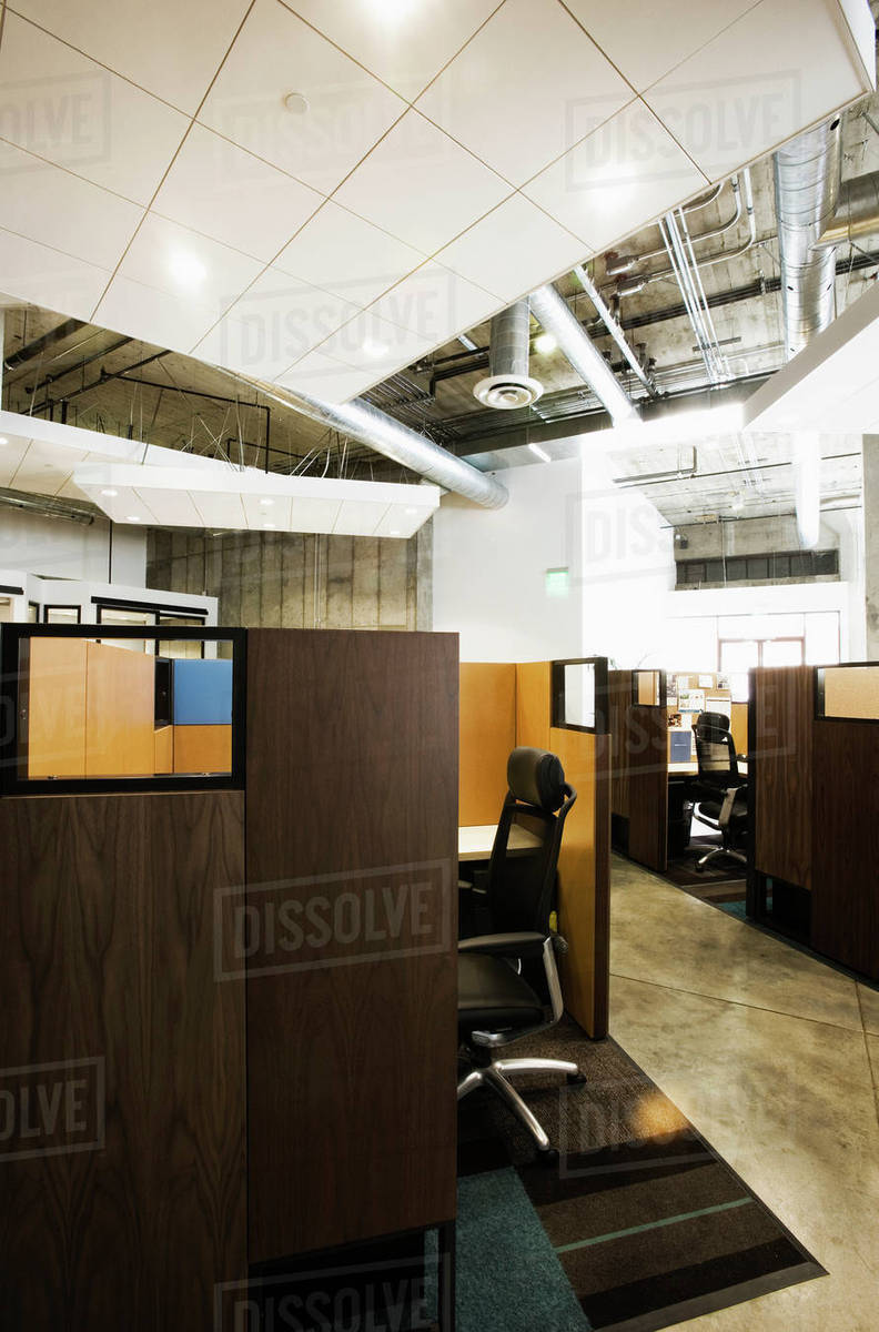 Detail Of Modern Office Space With Cubicles