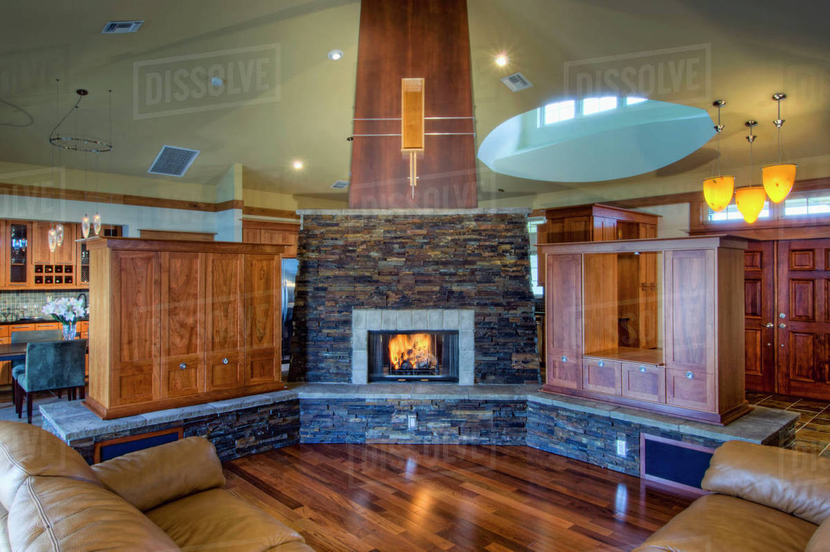 Traditional Living Room With Stone Fireplace D145 204 100