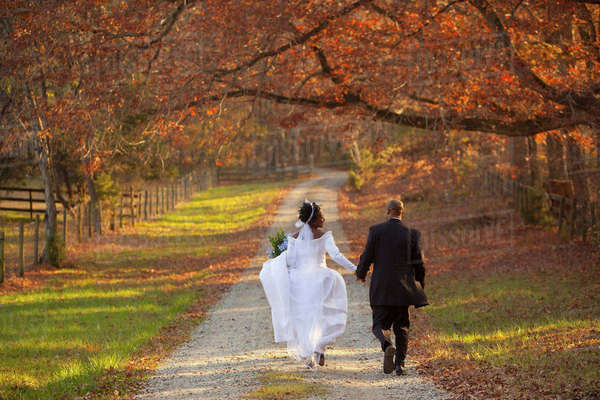 Bride and groom walking on path Royalty-free stock photo
