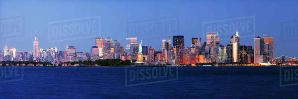 Lower Manhattan Skyline at Dusk Royalty-free stock photo