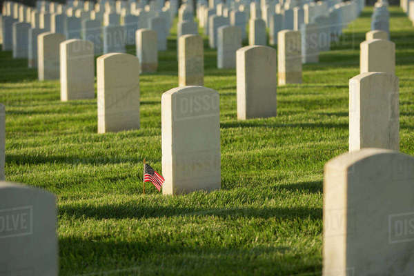 American flag at cemetery gravestone Royalty-free stock photo